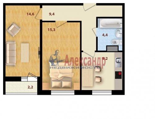 2-комнатная квартира (55м2) на продажу по адресу Свердлова пгт., 1-й мкр., 15— фото 3 из 3