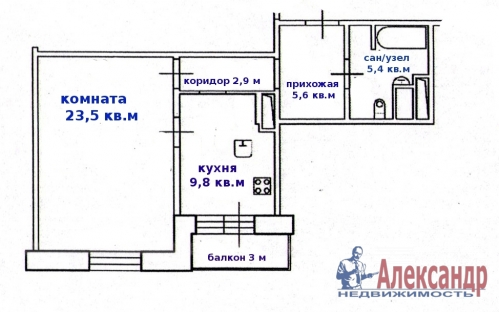 1-комнатная квартира (47м2) на продажу по адресу Поликарпова аллея, 2— фото 2 из 12