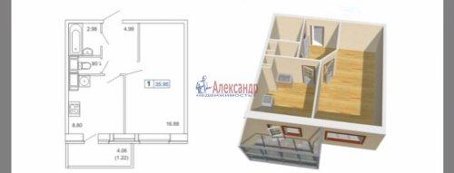 1-комнатная квартира (36м2) на продажу по адресу Маршала Блюхера пр.— фото 3 из 3