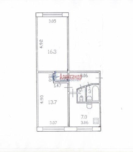 2-комнатная квартира (44м2) на продажу по адресу Белградская ул., 26— фото 2 из 6