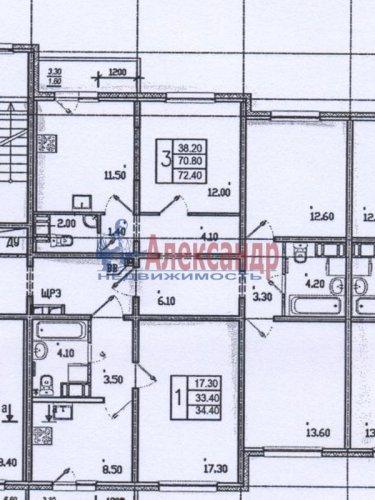 3-комнатная квартира (72м2) на продажу по адресу Маршака пр., 24— фото 1 из 1