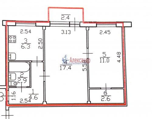 2-комнатная квартира (46м2) на продажу по адресу Северный пр., 91— фото 14 из 14