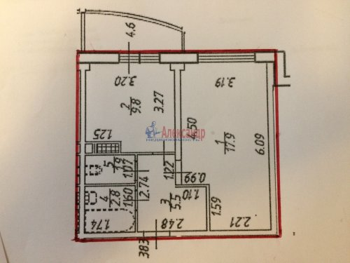 1-комнатная квартира (38м2) на продажу по адресу Металлострой пос., Центральная ул., 19— фото 5 из 6