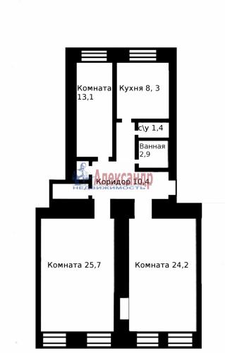 3-комнатная квартира (87м2) на продажу по адресу Декабристов ул., 37— фото 1 из 13