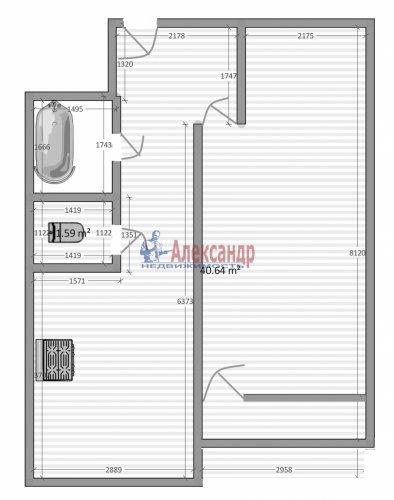1-комнатная квартира (41м2) на продажу по адресу Шушары пос., Пушкинская ул., 3— фото 1 из 15
