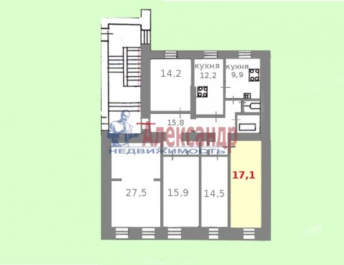 Комната в 5-комнатной квартире (132м2) на продажу по адресу Университетская наб., 25— фото 3 из 3