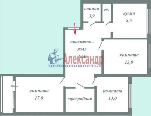 3-комнатная квартира (74м2) на продажу по адресу Всеволожск г., Ленинградская ул., 26— фото 2 из 4
