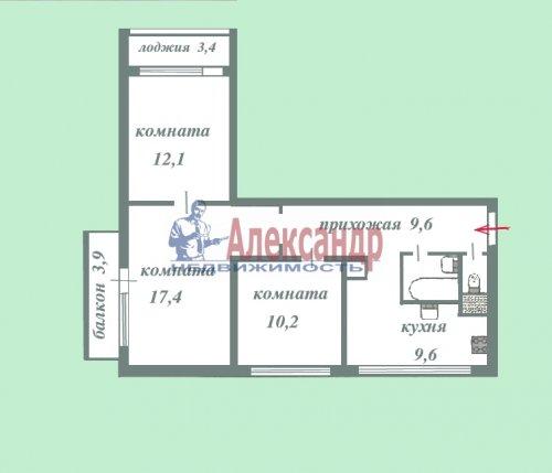 3-комнатная квартира (63м2) на продажу по адресу Олеко Дундича ул., 8— фото 3 из 6