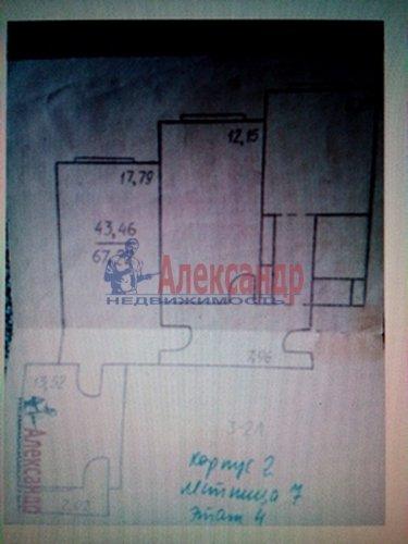 3-комнатная квартира (67м2) на продажу по адресу Комендантский пр., 40— фото 1 из 6