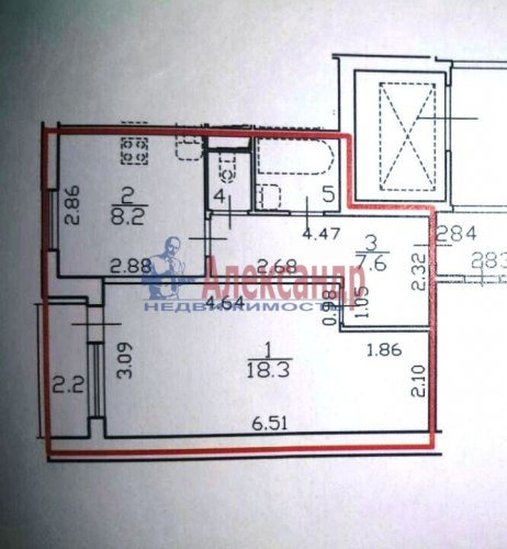 1-комнатная квартира (40м2) на продажу по адресу Науки пр., 79— фото 8 из 8