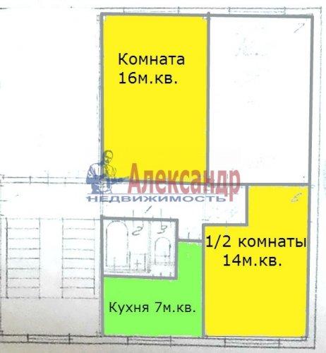 Комната в 2-комнатной квартире (62м2) на продажу по адресу Октябрьская наб., 64— фото 5 из 18