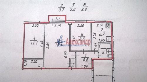 3-комнатная квартира (56м2) на продажу по адресу Сестрорецк г., Приморское шос., 346— фото 2 из 2