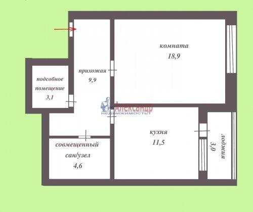 1-комнатная квартира (43м2) на продажу по адресу Всеволожск г., Доктора Сотникова ул., 1— фото 2 из 12