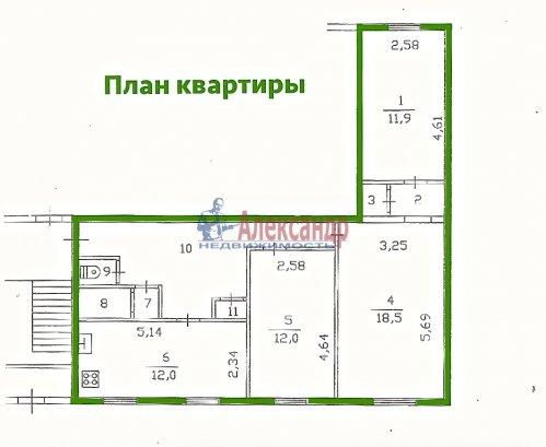 3-комнатная квартира (76м2) на продажу по адресу Романовка пос., 30— фото 2 из 4