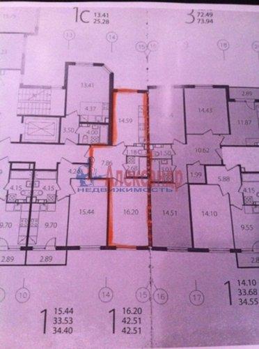1-комнатная квартира (43м2) на продажу по адресу Сертолово-2 пос., Мира ул., 13— фото 4 из 17