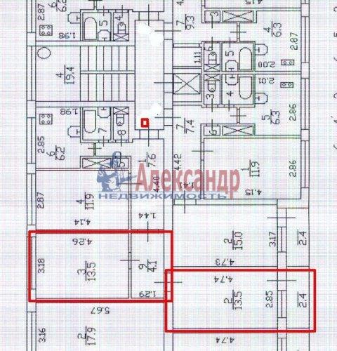 2 комнаты в 3-комнатной квартире (60м2) на продажу по адресу Народного Ополчения пр., 219— фото 5 из 14