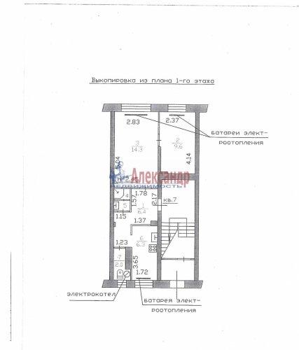 2-комнатная квартира (42м2) на продажу по адресу Рощино пгт., Филиппова ул., 3— фото 1 из 6