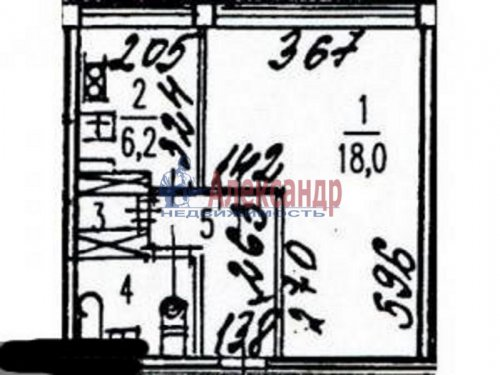1-комнатная квартира (33м2) на продажу по адресу Московский просп., 224— фото 2 из 2