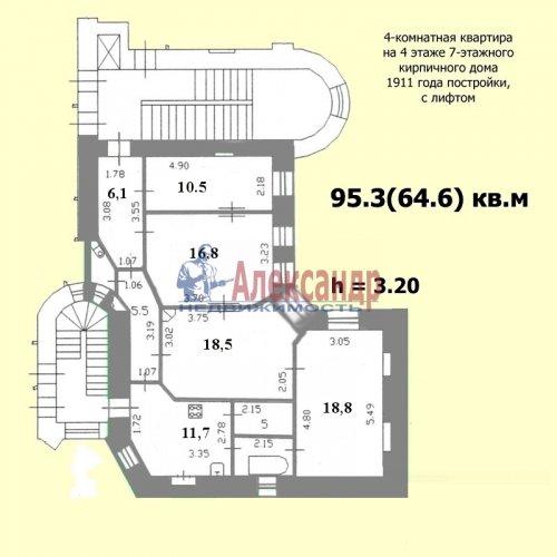4-комнатная квартира (95м2) на продажу по адресу Конная ул., 8— фото 3 из 4