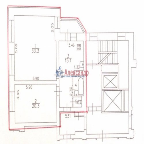 2-комнатная квартира (72м2) на продажу по адресу Кораблестроителей ул., 46— фото 1 из 1