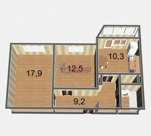 2-комнатная квартира (54м2) на продажу по адресу Осиновая Роща пос., Приозерское шос., 14— фото 3 из 17