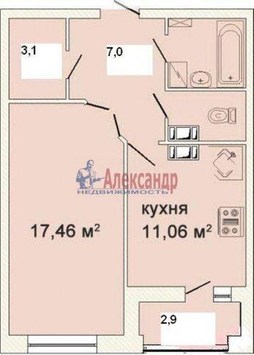 1-комнатная квартира (48м2) на продажу по адресу Лыжный пер., 4— фото 3 из 7