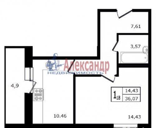 1-комнатная квартира (36м2) на продажу по адресу Мурино пос., Авиаторов Балтики пр., 3— фото 2 из 7