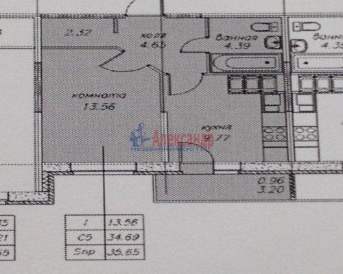 1-комнатная квартира (38м2) на продажу по адресу Парголово пос., Николая Рубцова ул., 3— фото 1 из 1