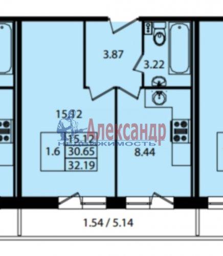 1-комнатная квартира (32м2) на продажу по адресу Мурино пос., Охтинская аллея, 8— фото 2 из 4