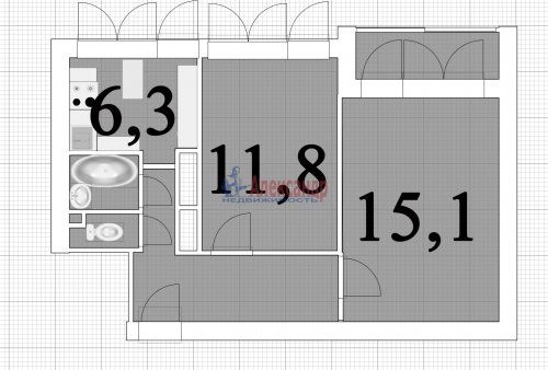 2-комнатная квартира (44м2) на продажу по адресу Композиторов ул., 24— фото 14 из 16