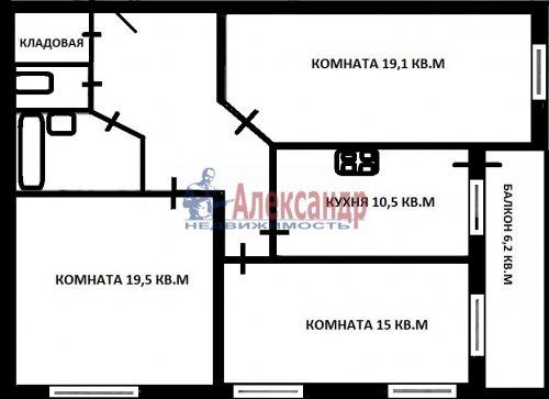 3-комнатная квартира (85м2) на продажу по адресу Тарасова ул., 6— фото 14 из 14
