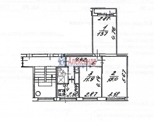 3-комнатная квартира (61м2) на продажу по адресу Лужская ул., 4— фото 1 из 1