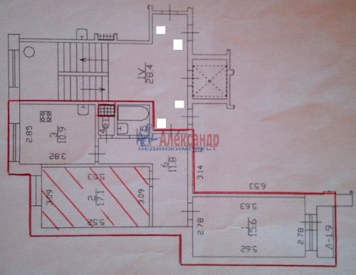 2-комнатная квартира (59м2) на продажу по адресу Пискаревский пр., 159— фото 4 из 7