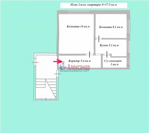 2-комнатная квартира (38м2) на продажу по адресу Всеволожск г., Евграфова ул., 11а— фото 20 из 20