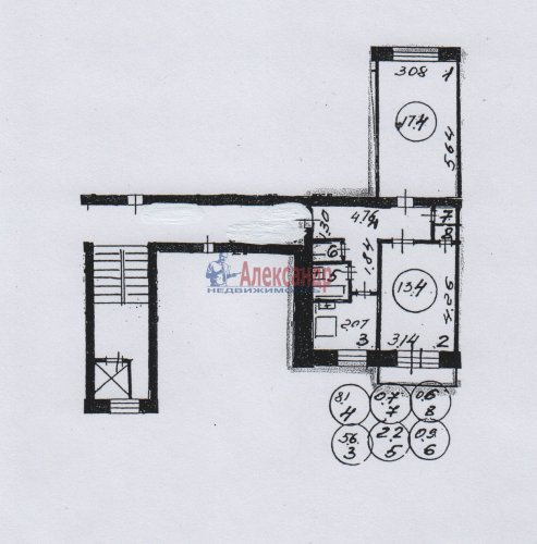 2-комнатная квартира (50м2) на продажу по адресу Светлановский просп., 62— фото 22 из 22