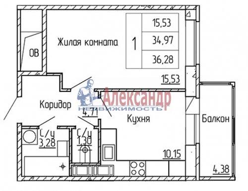 1-комнатная квартира (36м2) на продажу по адресу Мурино пос., Привокзальная пл.— фото 1 из 4