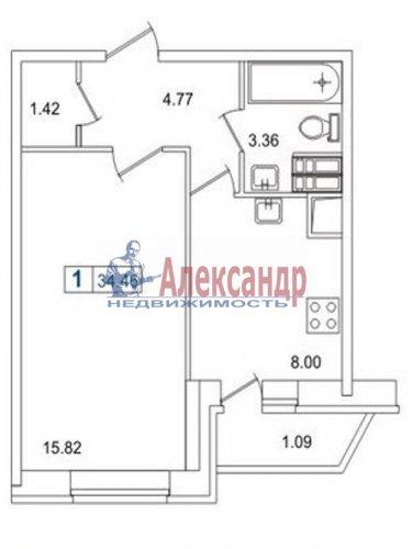 1-комнатная квартира (35м2) на продажу по адресу Кудрово дер., Европейский просп., 14— фото 5 из 5