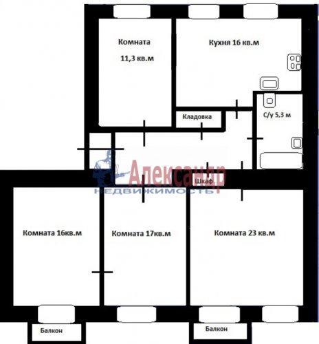 4-комнатная квартира (103м2) на продажу по адресу Тихорецкий пр., 7— фото 5 из 13