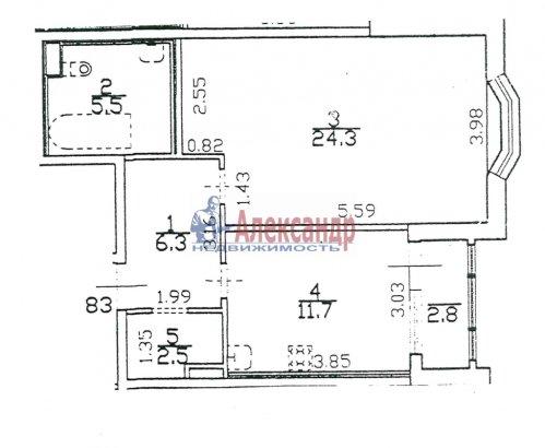 1-комнатная квартира (52м2) на продажу по адресу Пушкин г., Ленинградская ул., 46— фото 1 из 5