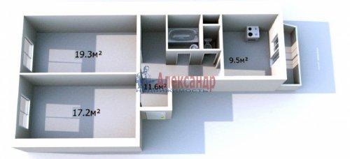 2-комнатная квартира (62м2) на продажу по адресу Космонавтов пр., 65— фото 1 из 12