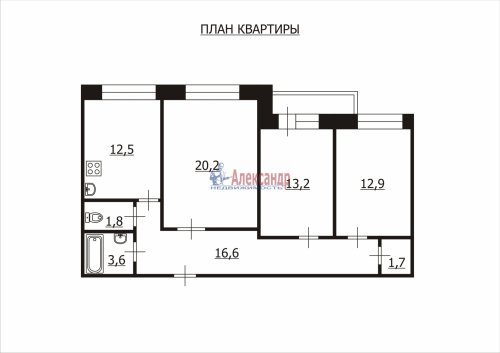 3-комнатная квартира (85м2) на продажу по адресу Типанова ул., 32— фото 2 из 11