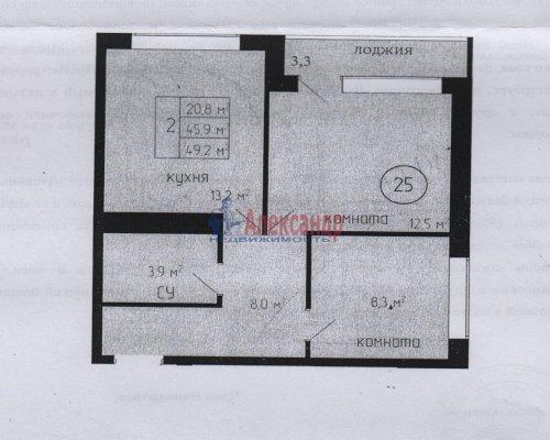2-комнатная квартира (46м2) на продажу по адресу Юкки дер., Садовая ул., 35— фото 1 из 1