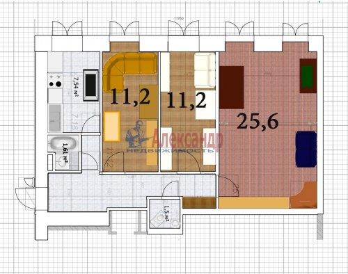 3-комнатная квартира (69м2) на продажу по адресу Кропоткина ул., 17— фото 7 из 11