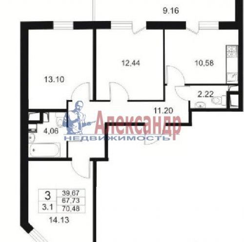 3-комнатная квартира (71м2) на продажу по адресу Кудрово дер., Немецкая ул., 3— фото 2 из 7