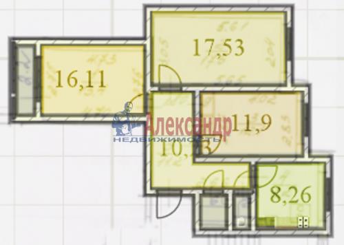 3-комнатная квартира (72м2) на продажу по адресу Обуховской Обороны пр., 144— фото 1 из 11
