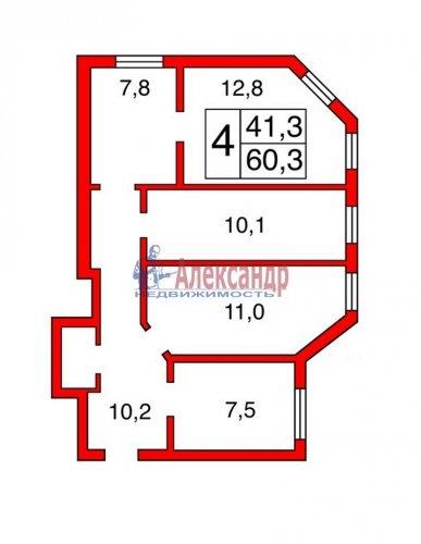Комната в 4-комнатной квартире (60м2) на продажу по адресу Большая Зеленина ул., 16— фото 3 из 3