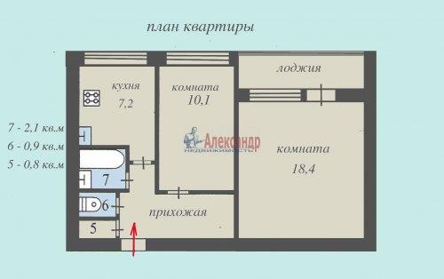 2-комнатная квартира (48м2) на продажу по адресу Всеволожск г., Плоткина ул., 15— фото 13 из 13